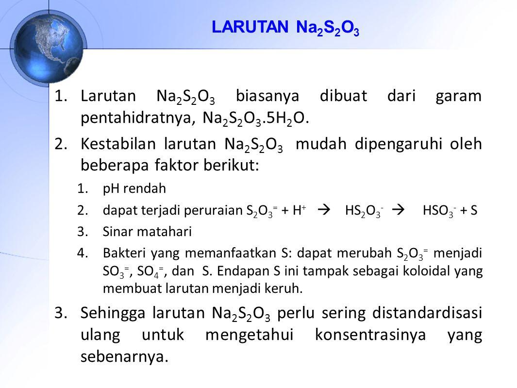 LARUTAN Na 2 S 2 O 3 1.Larutan Na 2 S 2 O 3 biasanya dibuat dari garam pentahidratnya, Na 2 S 2 O 3.5H 2 O.