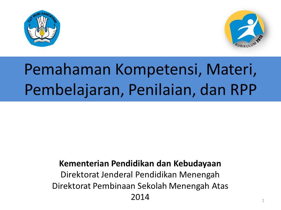 Pemahaman Kompetensi, Materi, Pembelajaran, Penilaian, dan RPP Kementerian Pendidikan dan Kebudayaan Direktorat Jenderal Pendidikan Menengah Direktora