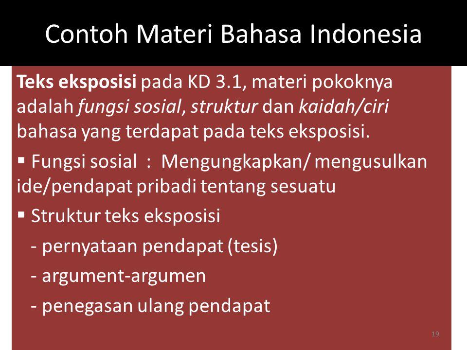 Contoh Materi Bahasa Indonesia Teks eksposisi pada KD 3.1, materi pokoknya adalah fungsi sosial, struktur dan kaidah/ciri bahasa yang terdapat pada te