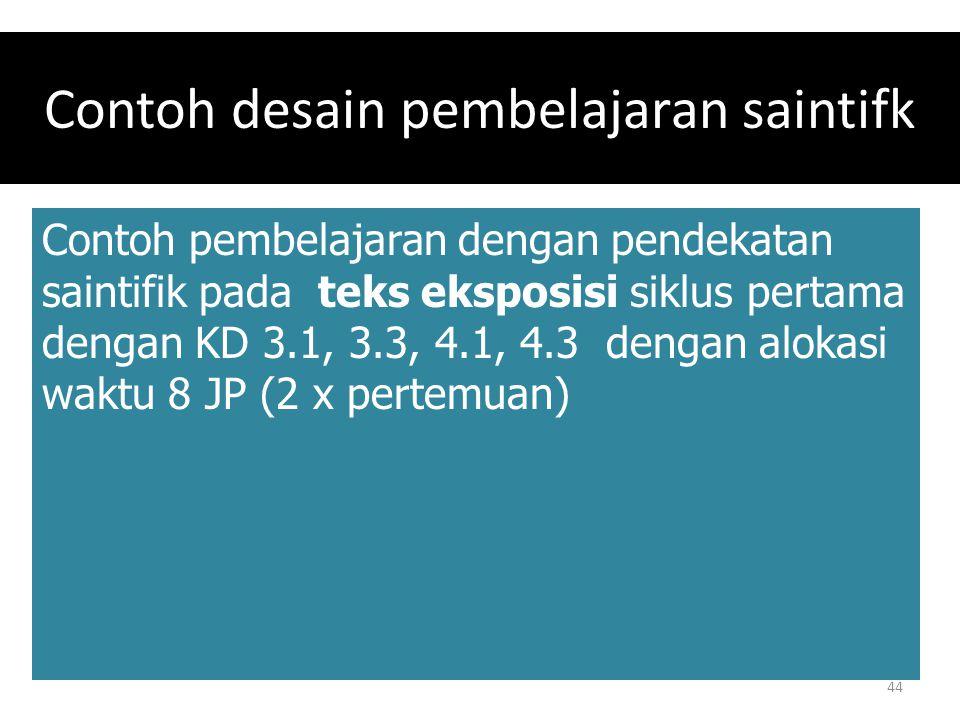 Contoh desain pembelajaran saintifk Contoh pembelajaran dengan pendekatan saintifik pada teks eksposisi siklus pertama dengan KD 3.1, 3.3, 4.1, 4.3 de