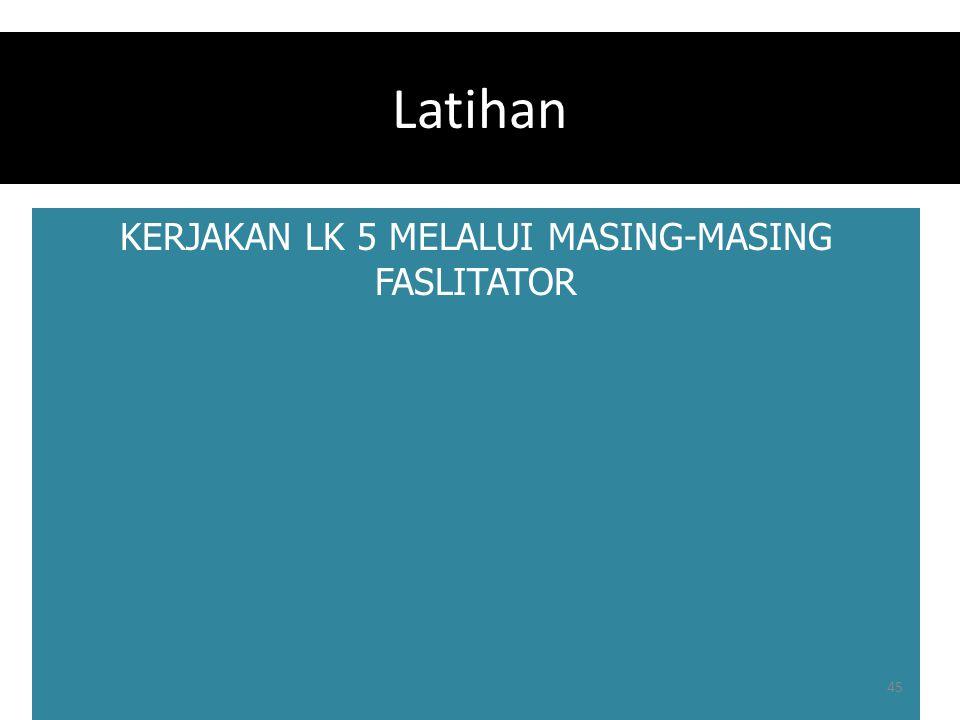 Latihan KERJAKAN LK 5 MELALUI MASING-MASING FASLITATOR 45