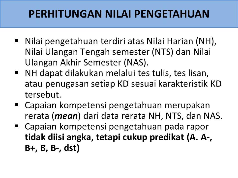 PERHITUNGAN NILAI PENGETAHUAN  Nilai pengetahuan terdiri atas Nilai Harian (NH), Nilai Ulangan Tengah semester (NTS) dan Nilai Ulangan Akhir Semester