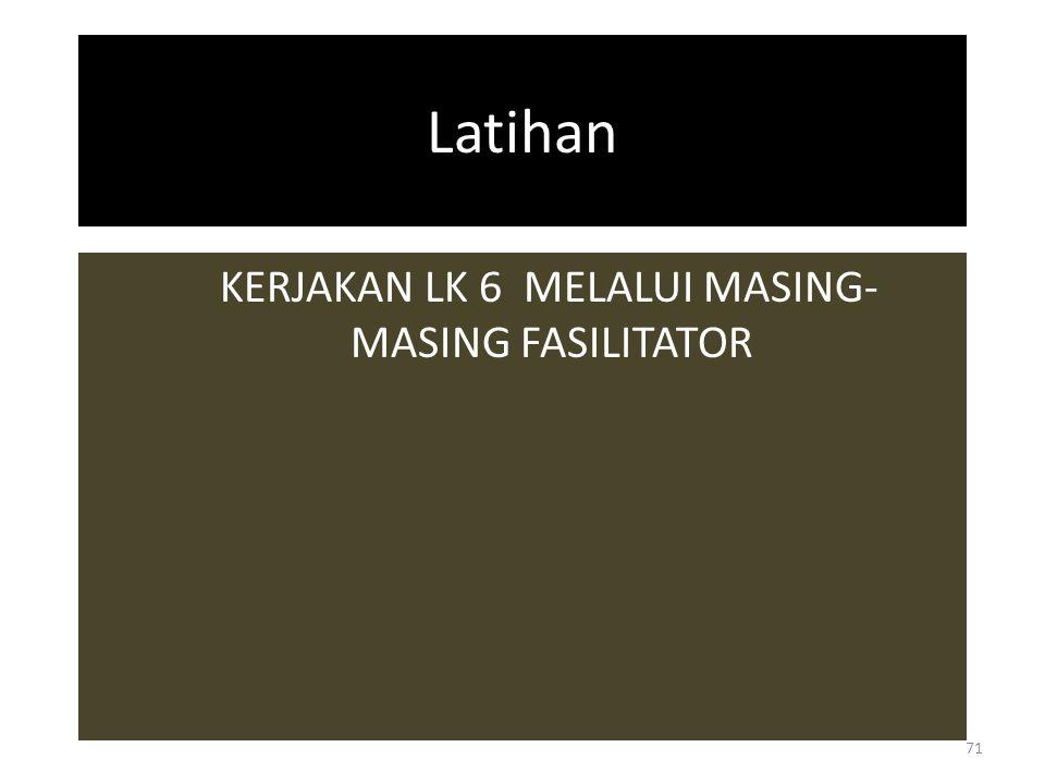 Latihan KERJAKAN LK 6 MELALUI MASING- MASING FASILITATOR 71