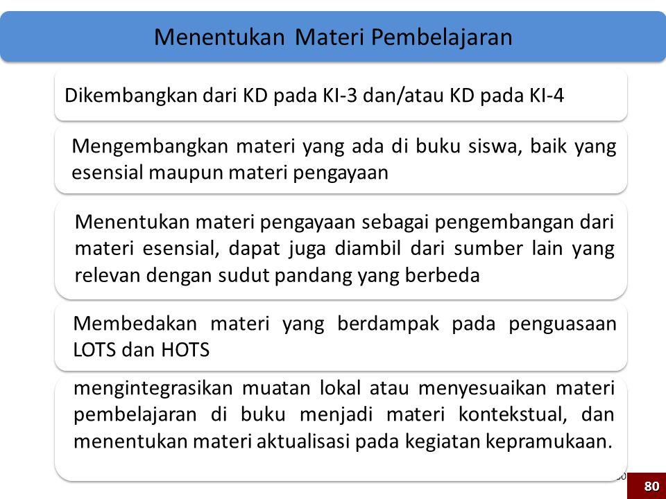 80 Menentukan Materi Pembelajaran Dikembangkan dari KD pada KI-3 dan/atau KD pada KI-4 Mengembangkan materi yang ada di buku siswa, baik yang esensial