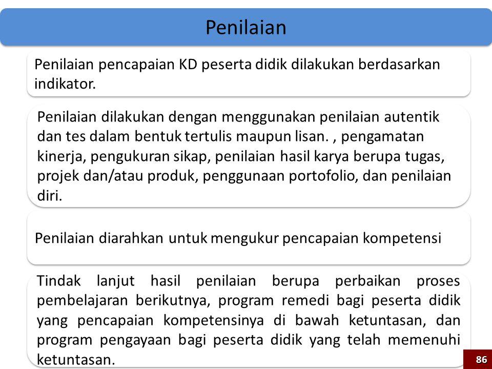 86 Penilaian pencapaian KD peserta didik dilakukan berdasarkan indikator. Penilaian dilakukan dengan menggunakan penilaian autentik dan tes dalam bent