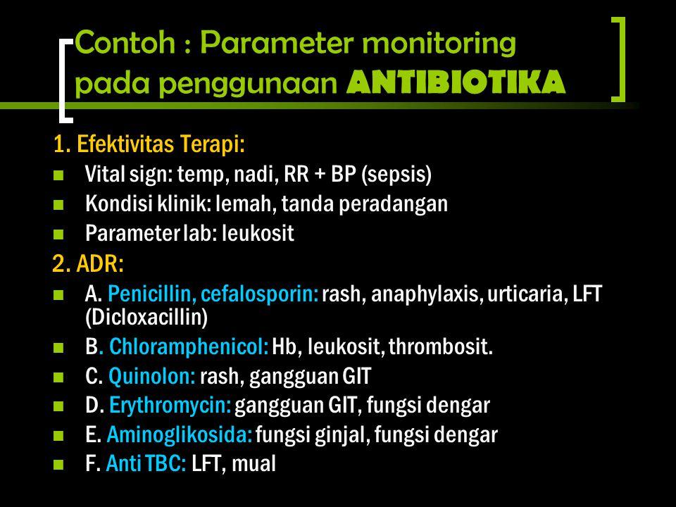 Contoh : Parameter monitoring pada penggunaan ANTIBIOTIKA 1. Efektivitas Terapi: Vital sign: temp, nadi, RR + BP (sepsis) Kondisi klinik: lemah, tanda