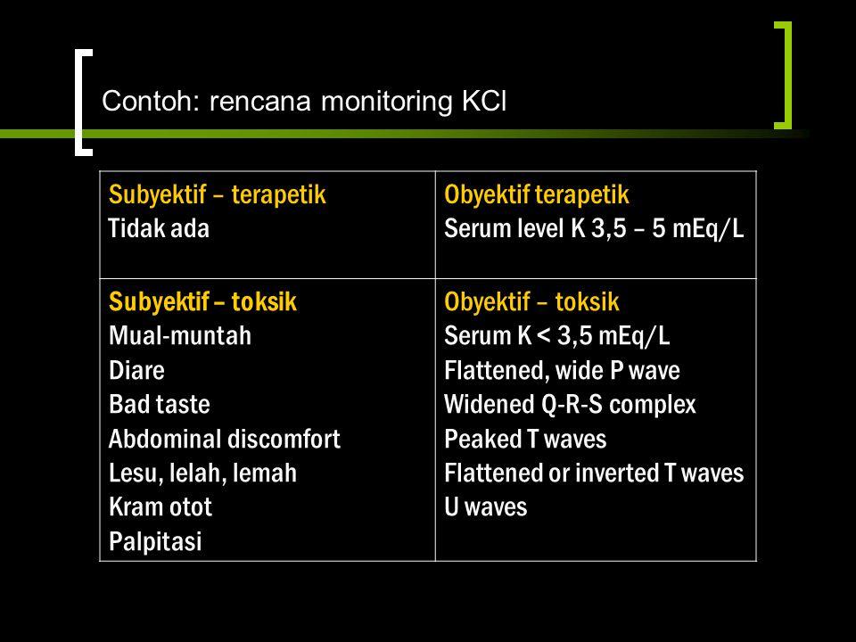 Contoh: rencana monitoring KCl Subyektif – terapetik Tidak ada Obyektif terapetik Serum level K 3,5 – 5 mEq/L Subyektif – toksik Mual-muntah Diare Bad