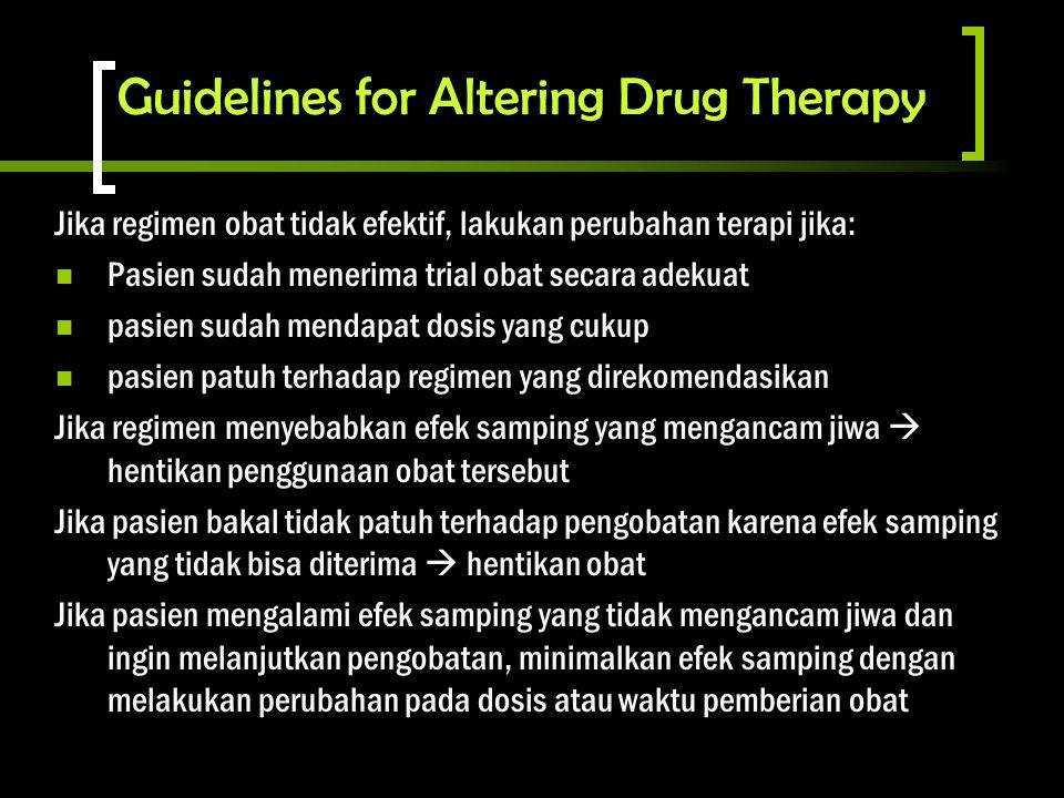 Guidelines for Altering Drug Therapy Jika regimen obat tidak efektif, lakukan perubahan terapi jika: Pasien sudah menerima trial obat secara adekuat p