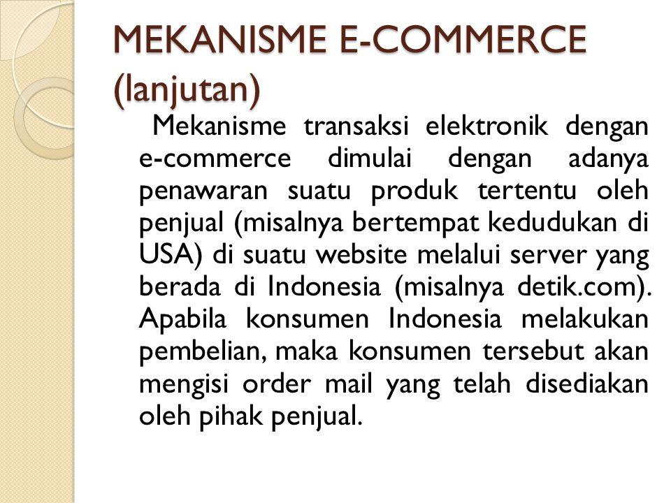 MEKANISME E-COMMERCE (lanjutan) Mekanisme transaksi elektronik dengan e-commerce dimulai dengan adanya penawaran suatu produk tertentu oleh penjual (m