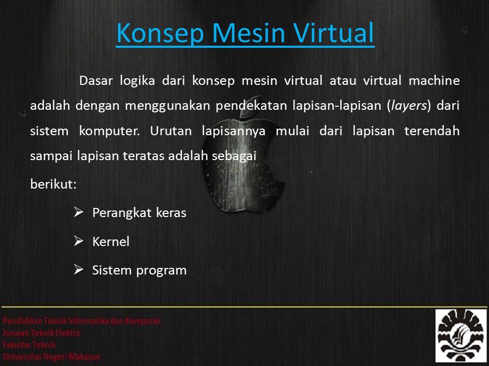Konsep Mesin Virtual Dasar logika dari konsep mesin virtual atau virtual machine adalah dengan menggunakan pendekatan lapisan-lapisan (layers) dari sistem komputer.