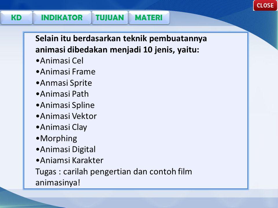 TUJUAN KD INDIKATOR MATERI Selain itu berdasarkan teknik pembuatannya animasi dibedakan menjadi 10 jenis, yaitu: Animasi Cel Animasi Frame Anmasi Sprite Animasi Path Animasi Spline Animasi Vektor Animasi Clay Morphing Animasi Digital Aniamsi Karakter Tugas : carilah pengertian dan contoh film animasinya!