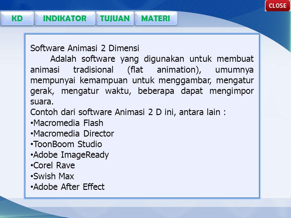 TUJUAN KD INDIKATOR MATERI Software Animasi 2 Dimensi Adalah software yang digunakan untuk membuat animasi tradisional (flat animation), umumnya mempunyai kemampuan untuk menggambar, mengatur gerak, mengatur waktu, beberapa dapat mengimpor suara.