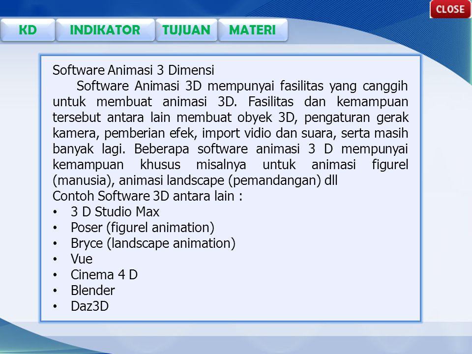 TUJUAN KD INDIKATOR MATERI Software Animasi 3 Dimensi Software Animasi 3D mempunyai fasilitas yang canggih untuk membuat animasi 3D.