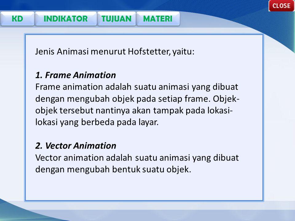 TUJUAN KD INDIKATOR MATERI Jenis Animasi menurut Hofstetter, yaitu: 1.