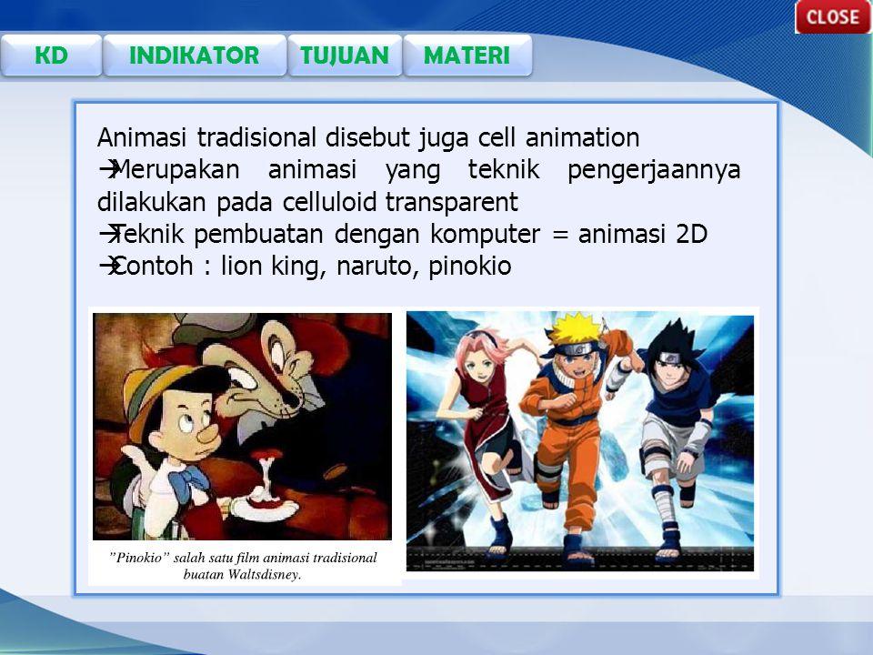 TUJUAN KD INDIKATOR MATERI Animasi tradisional disebut juga cell animation  Merupakan animasi yang teknik pengerjaannya dilakukan pada celluloid transparent  Teknik pembuatan dengan komputer = animasi 2D  Contoh : lion king, naruto, pinokio