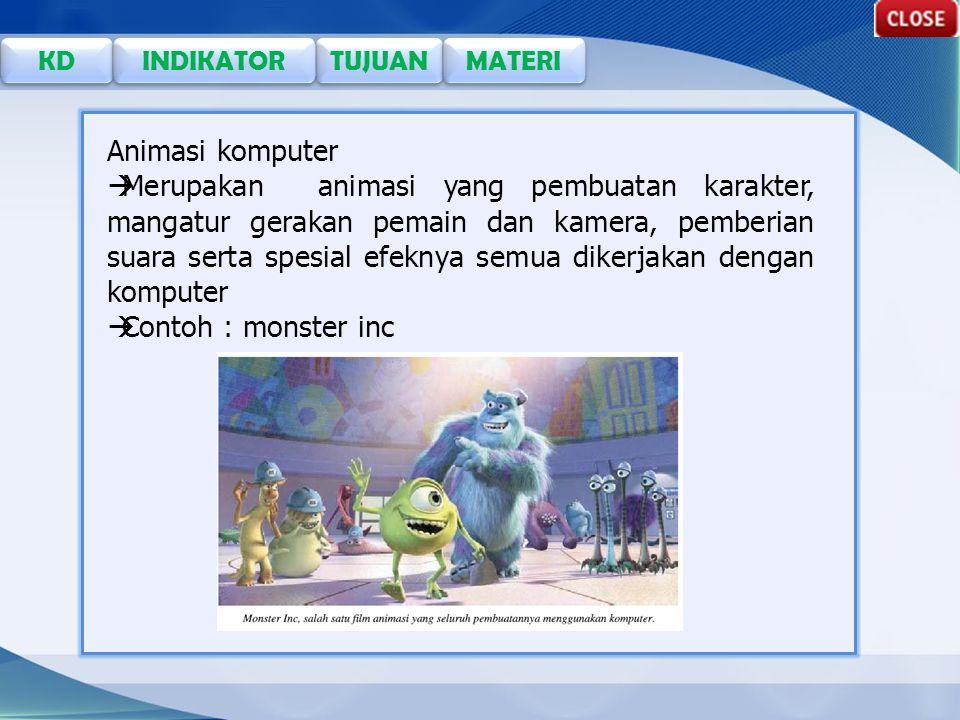 TUJUAN KD INDIKATOR MATERI Animasi komputer  Merupakan animasi yang pembuatan karakter, mangatur gerakan pemain dan kamera, pemberian suara serta spesial efeknya semua dikerjakan dengan komputer  Contoh : monster inc