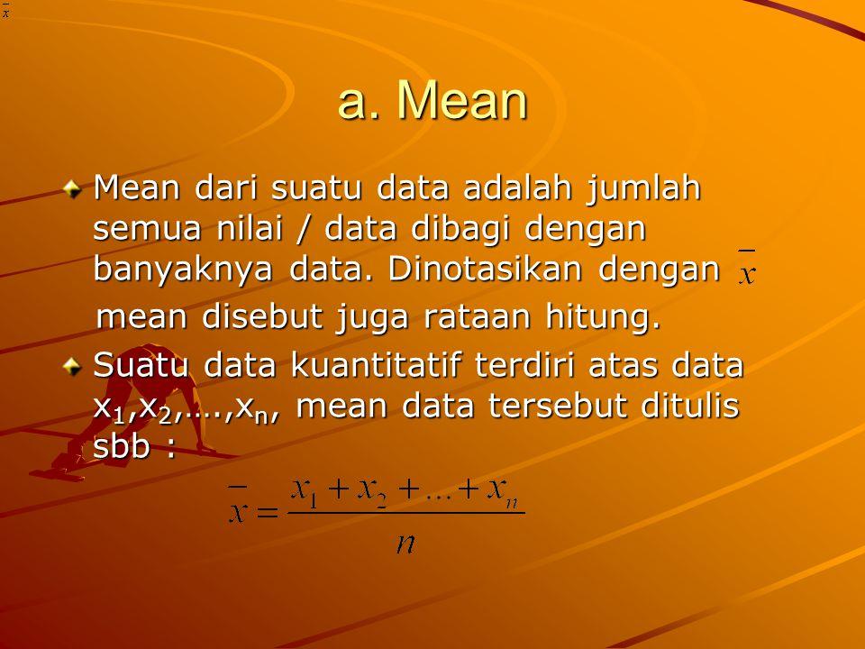 a. Mean Mean dari suatu data adalah jumlah semua nilai / data dibagi dengan banyaknya data.