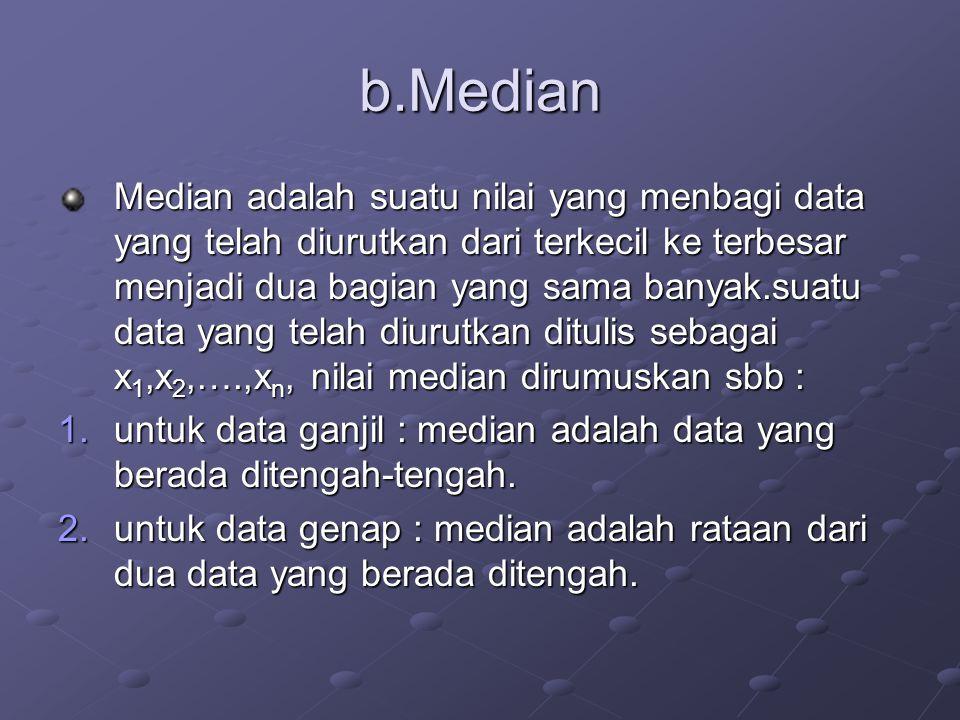b.Median Median adalah suatu nilai yang menbagi data yang telah diurutkan dari terkecil ke terbesar menjadi dua bagian yang sama banyak.suatu data yang telah diurutkan ditulis sebagai x1,x2,….,xn, nilai median dirumuskan sbb : 1.u ntuk data ganjil : median adalah data yang berada ditengah-tengah.
