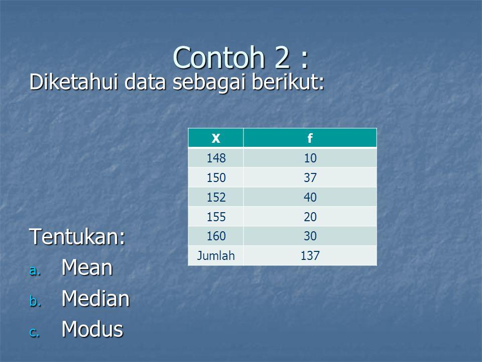 Contoh 2 : Diketahui data sebagai berikut: Tentukan: a. Mean b. Median c. Modus Xf 14810 15037 15240 15520 16030 Jumlah137