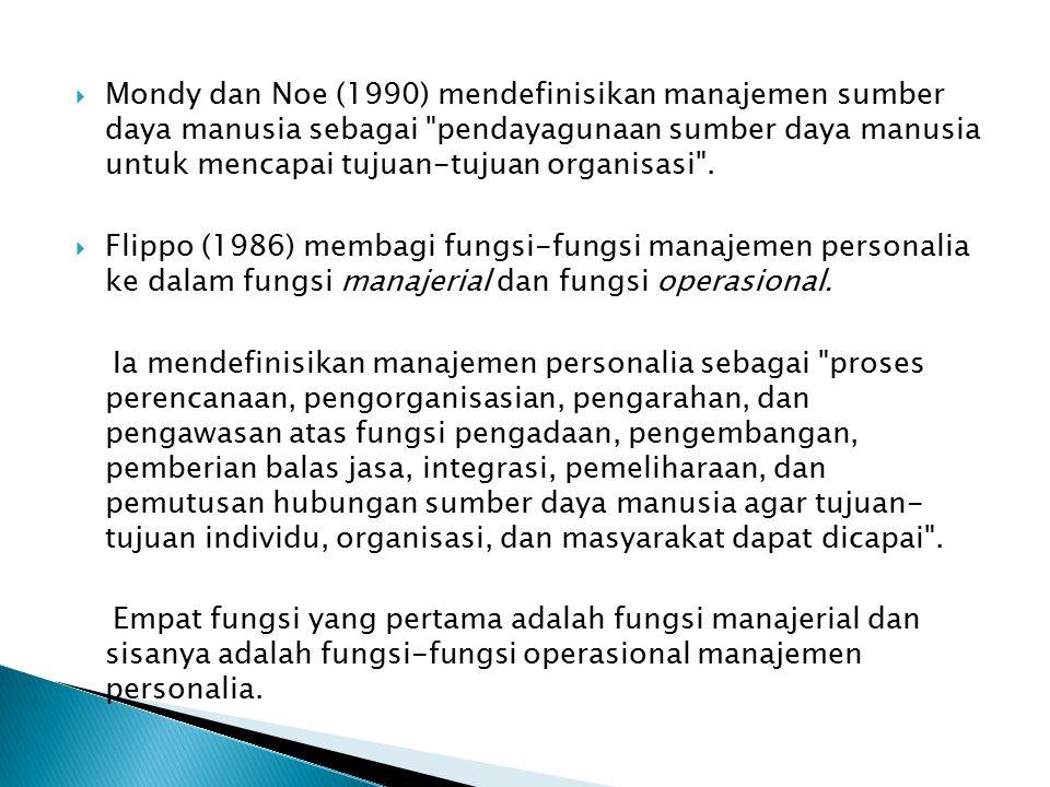  Mondy dan Noe (1990) mendefinisikan manajemen sumber daya manusia sebagai