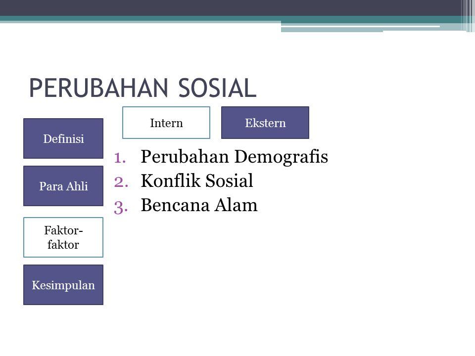 PERUBAHAN SOSIAL 1.Perubahan Demografis 2.Konflik Sosial 3.Bencana Alam Definisi Para Ahli Faktor- faktor Kesimpulan InternEkstern