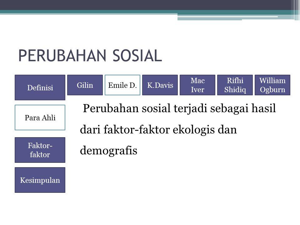 PERUBAHAN SOSIAL Perubahan sosial terjadi sebagai hasil dari faktor-faktor ekologis dan demografis Definisi Para Ahli Faktor- faktor Kesimpulan GilinE