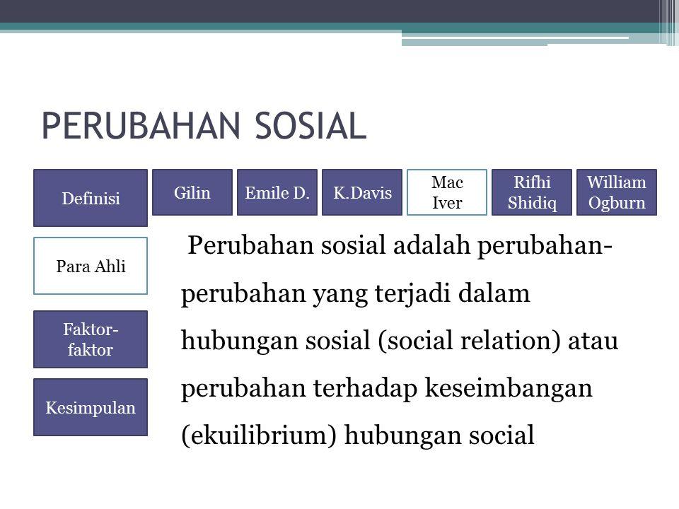 PERUBAHAN SOSIAL Perubahan sosial adalah perubahan- perubahan yang terjadi dalam hubungan sosial (social relation) atau perubahan terhadap keseimbanga