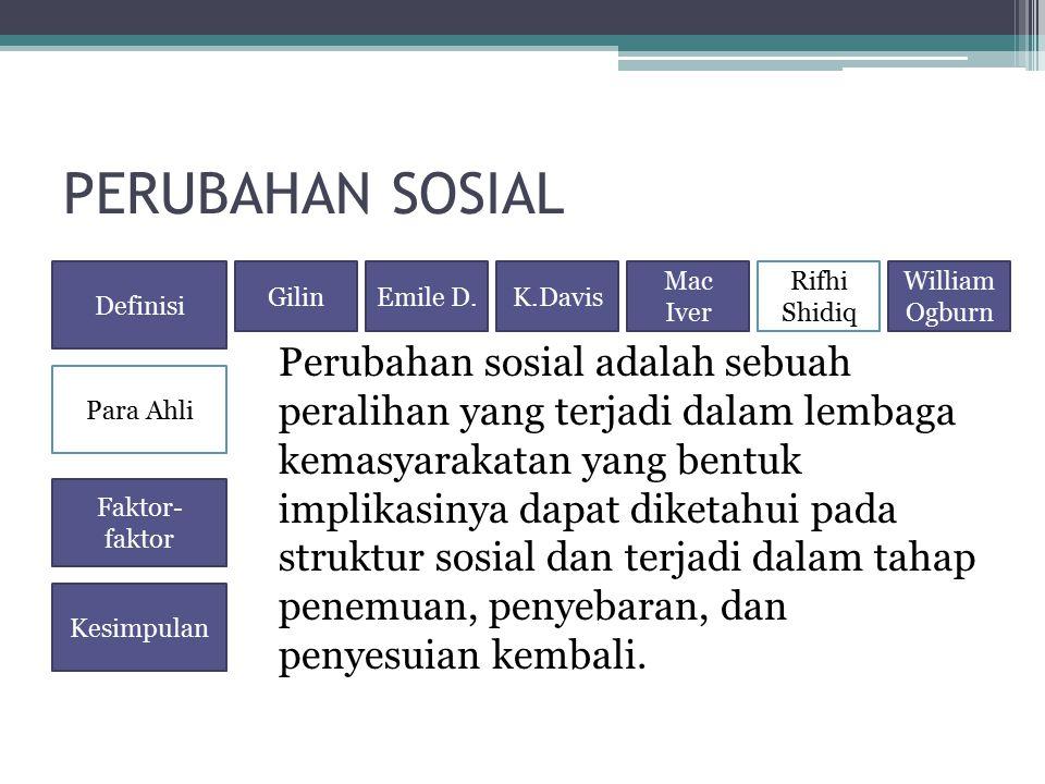 PERUBAHAN SOSIAL Perubahan sosial adalah sebuah peralihan yang terjadi dalam lembaga kemasyarakatan yang bentuk implikasinya dapat diketahui pada stru