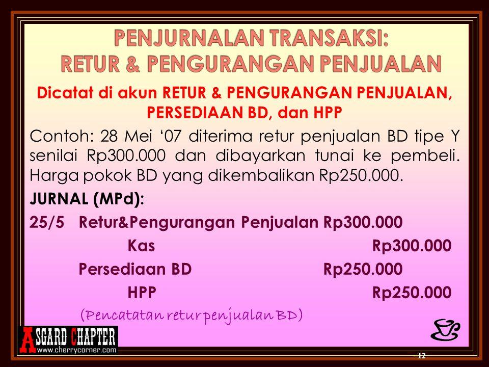 Dicatat di akun RETUR & PENGURANGAN PENJUALAN, PERSEDIAAN BD, dan HPP Contoh: 28 Mei '07 diterima retur penjualan BD tipe Y senilai Rp300.000 dan dibayarkan tunai ke pembeli.