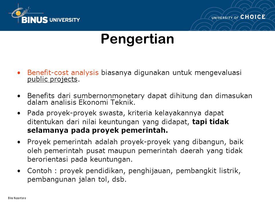 Bina Nusantara Prosedur untuk melakukan Incremental Analysis dari Multiple Alternatives 1.Tentukan total equivalent cost untuk semua alternatif.