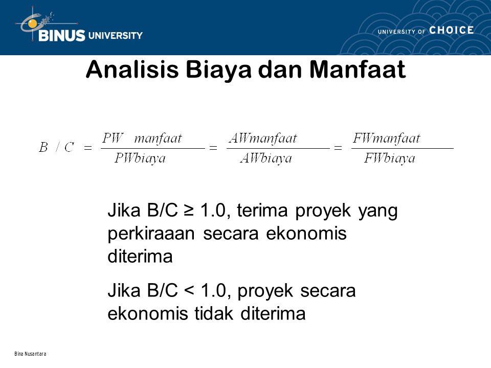 Bina Nusantara Analisis Biaya dan Manfaat Modified B/C akan menghasilkan nilai yang berbeda dengan metode B/C konvensional.