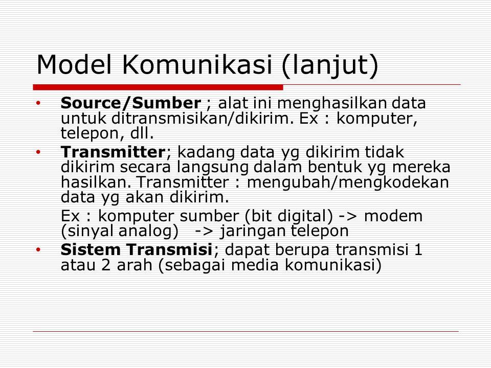 Model Komunikasi (lanjut) Source/Sumber ; alat ini menghasilkan data untuk ditransmisikan/dikirim. Ex : komputer, telepon, dll. Transmitter; kadang da