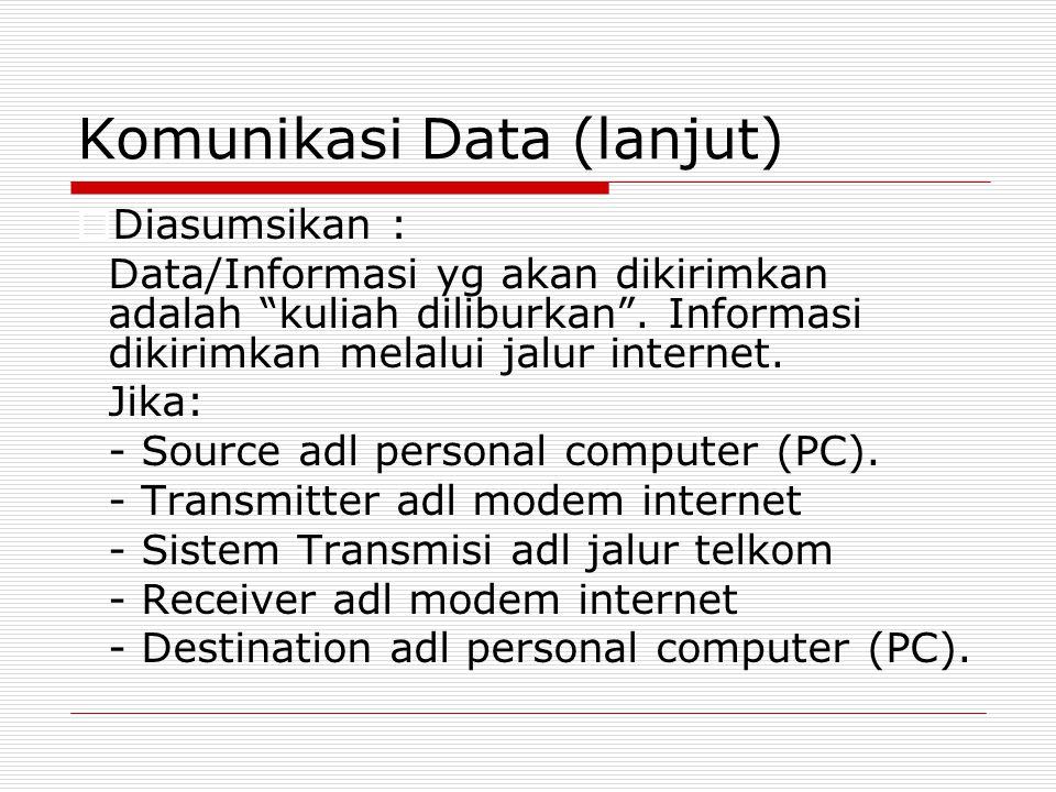"""Komunikasi Data (lanjut)  Diasumsikan : Data/Informasi yg akan dikirimkan adalah """"kuliah diliburkan"""". Informasi dikirimkan melalui jalur internet. Ji"""