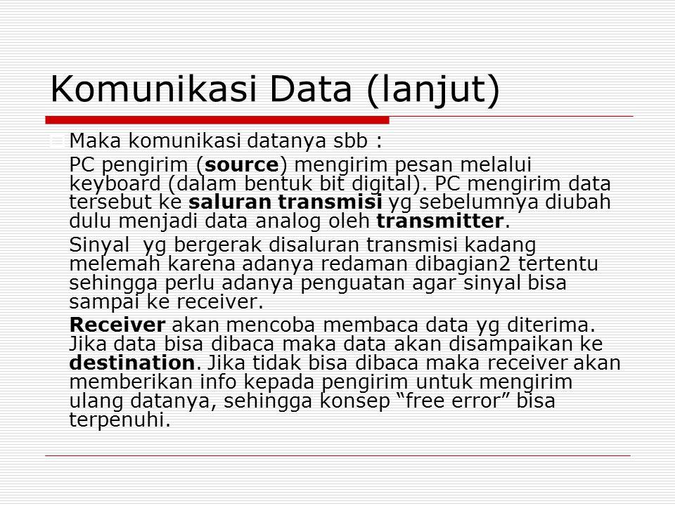Komunikasi Data (lanjut)  Maka komunikasi datanya sbb : PC pengirim (source) mengirim pesan melalui keyboard (dalam bentuk bit digital). PC mengirim