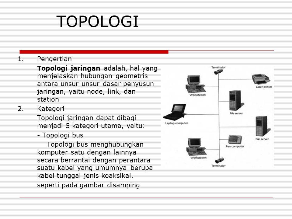 TOPOLOGI 1.Pengertian Topologi jaringan adalah, hal yang menjelaskan hubungan geometris antara unsur-unsur dasar penyusun jaringan, yaitu node, link,