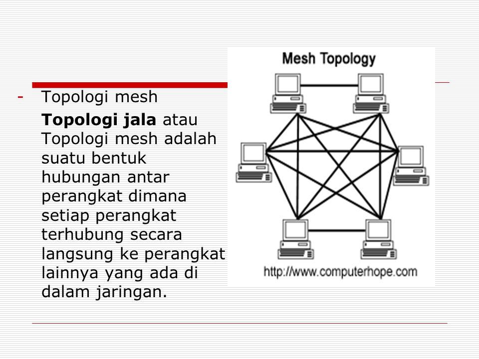 -T-Topologi mesh Topologi jala atau Topologi mesh adalah suatu bentuk hubungan antar perangkat dimana setiap perangkat terhubung secara langsung ke pe
