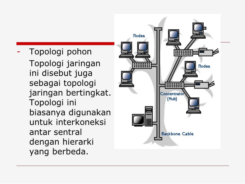 -Topologi pohon Topologi jaringan ini disebut juga sebagai topologi jaringan bertingkat. Topologi ini biasanya digunakan untuk interkoneksi antar sent