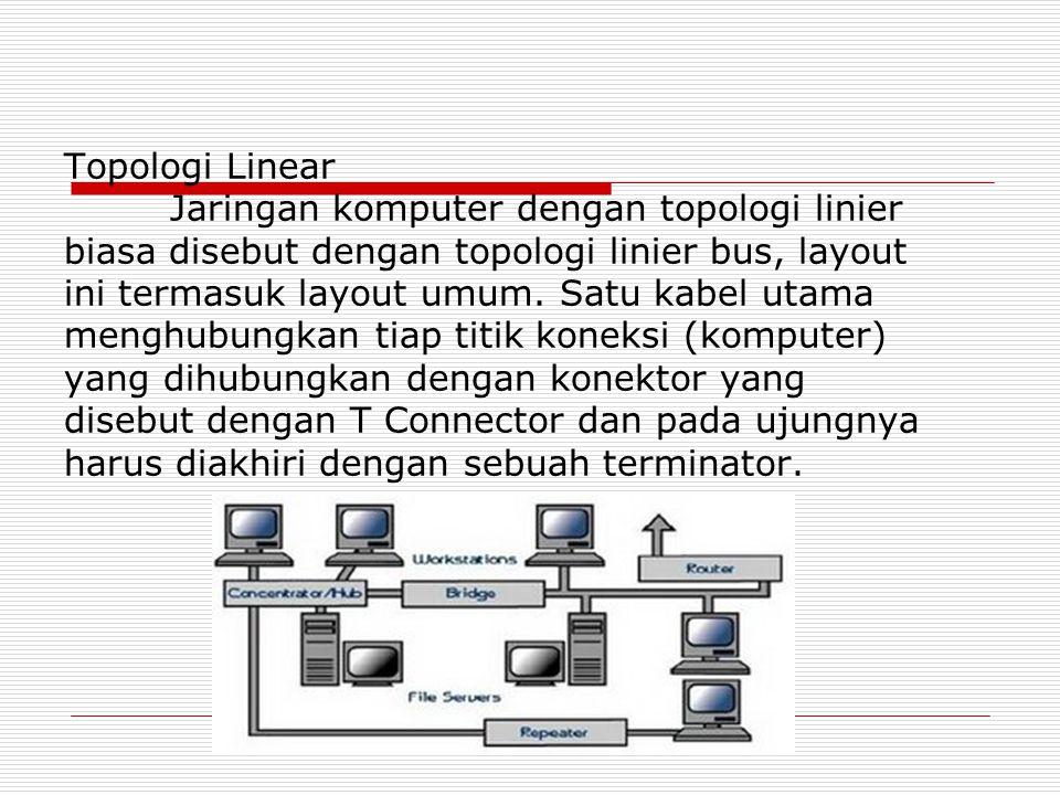 Topologi Linear Jaringan komputer dengan topologi linier biasa disebut dengan topologi linier bus, layout ini termasuk layout umum. Satu kabel utama m
