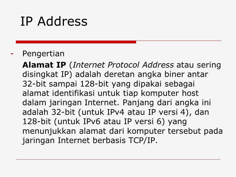 IP Address -Pengertian Alamat IP (Internet Protocol Address atau sering disingkat IP) adalah deretan angka biner antar 32-bit sampai 128-bit yang dipa
