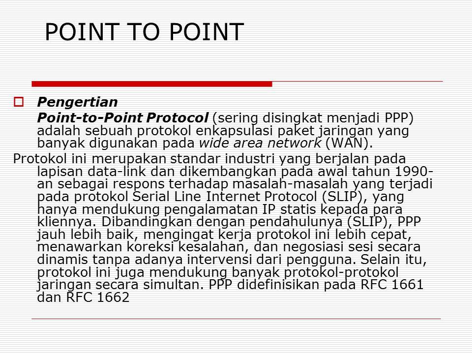 POINT TO POINT  Pengertian Point-to-Point Protocol (sering disingkat menjadi PPP) adalah sebuah protokol enkapsulasi paket jaringan yang banyak digun
