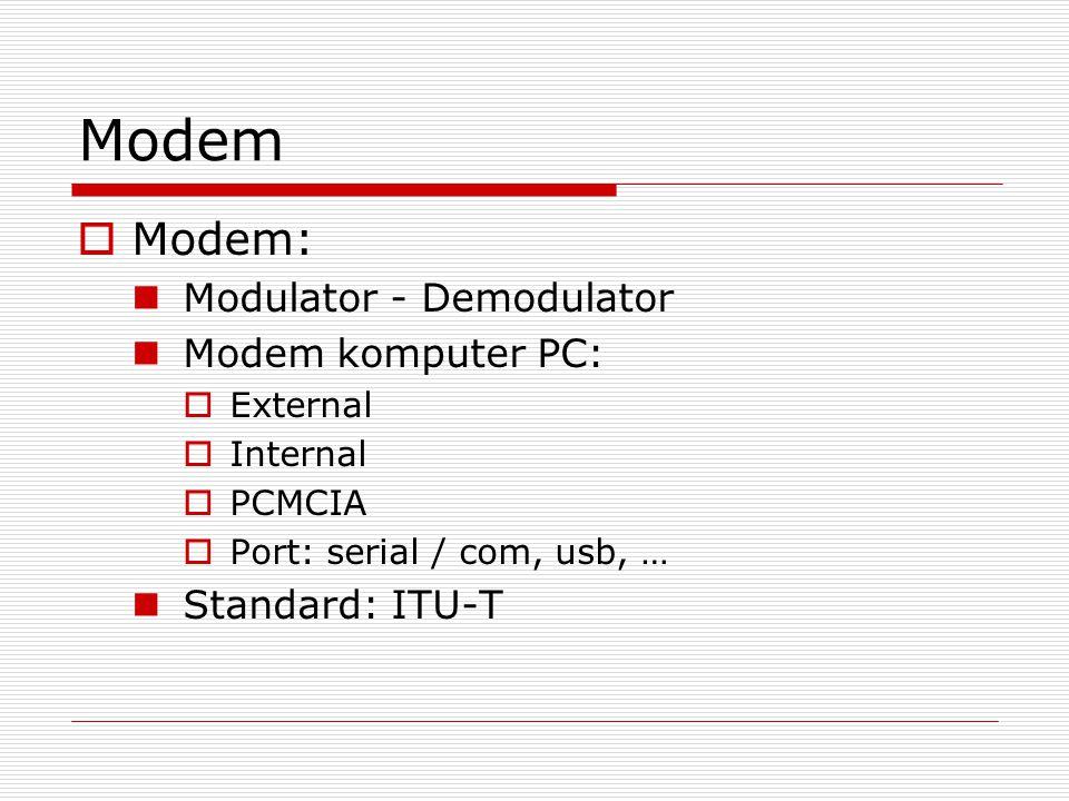 Modem MModem: Modulator - Demodulator Modem komputer PC: EExternal IInternal PPCMCIA PPort: serial / com, usb, … Standard: ITU-T