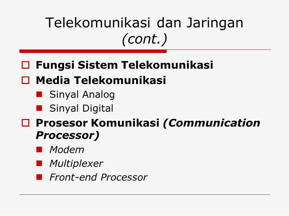 Telekomunikasi dan Jaringan (cont.)  Fungsi Sistem Telekomunikasi  Media Telekomunikasi Sinyal Analog Sinyal Digital  Prosesor Komunikasi (Communic