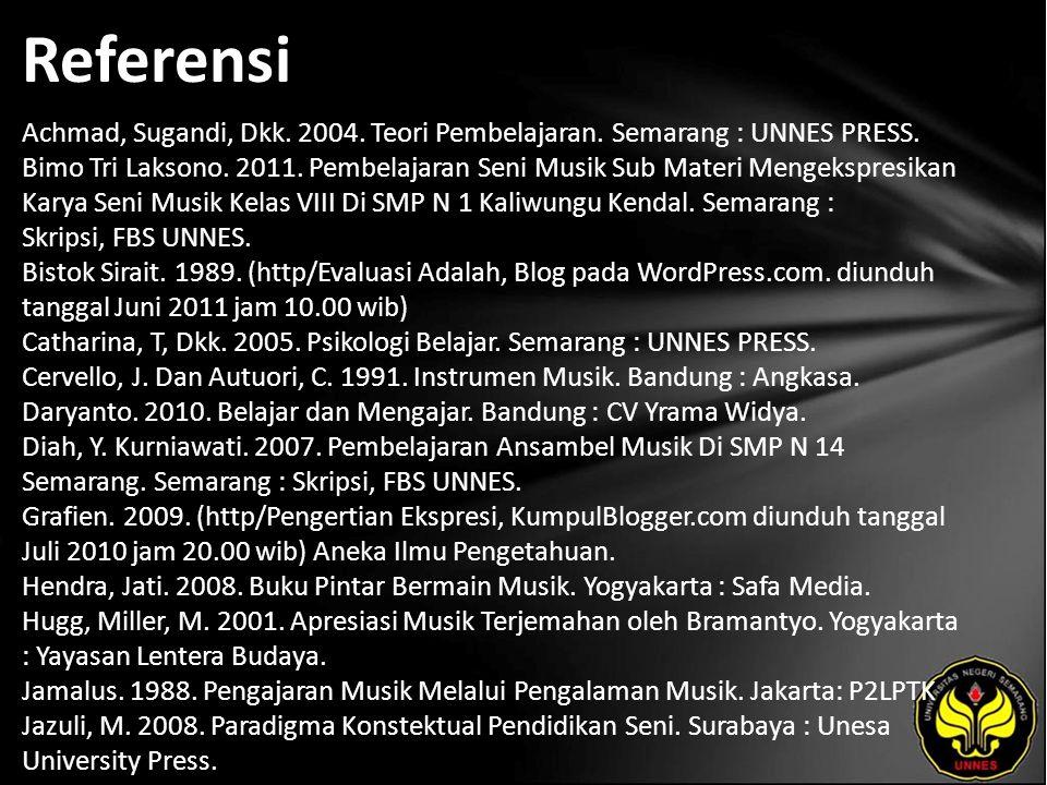 Referensi Achmad, Sugandi, Dkk. 2004. Teori Pembelajaran. Semarang : UNNES PRESS. Bimo Tri Laksono. 2011. Pembelajaran Seni Musik Sub Materi Mengekspr