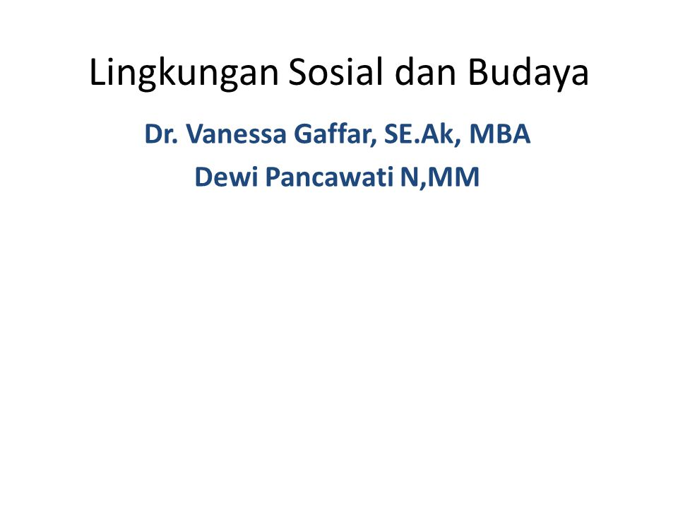Lingkungan Sosial dan Budaya Dr. Vanessa Gaffar, SE.Ak, MBA Dewi Pancawati N,MM