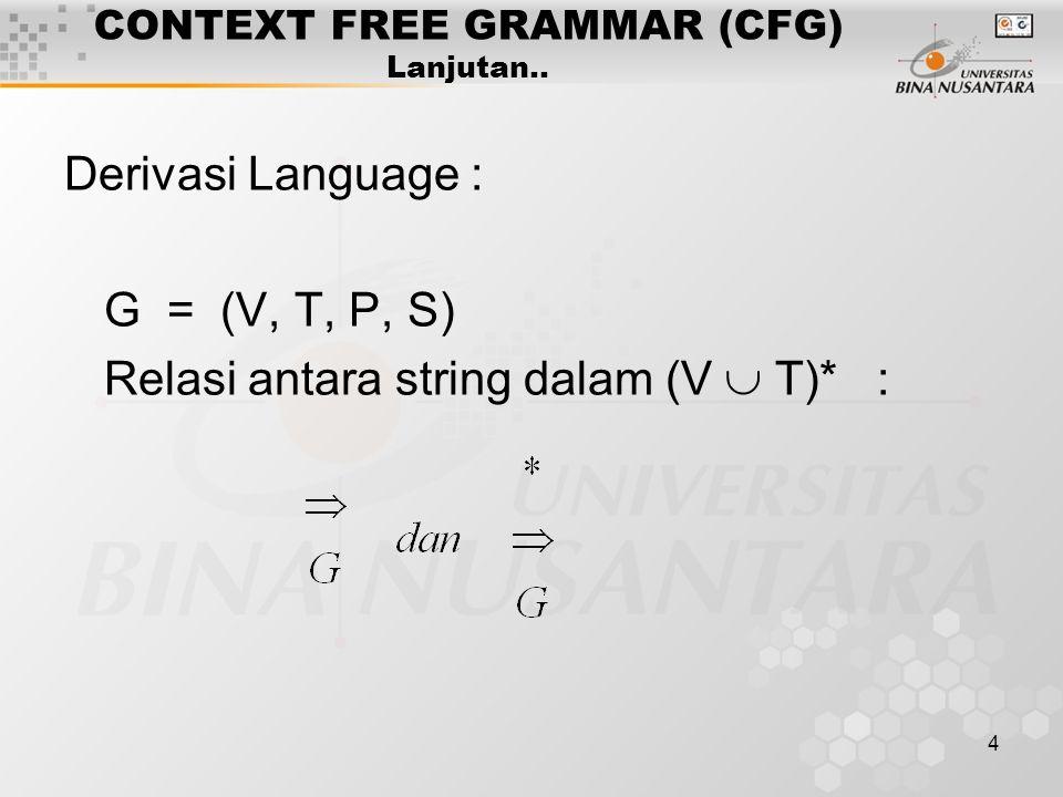 4 CONTEXT FREE GRAMMAR (CFG) Lanjutan.. Derivasi Language : G = (V, T, P, S) Relasi antara string dalam (V  T)* :