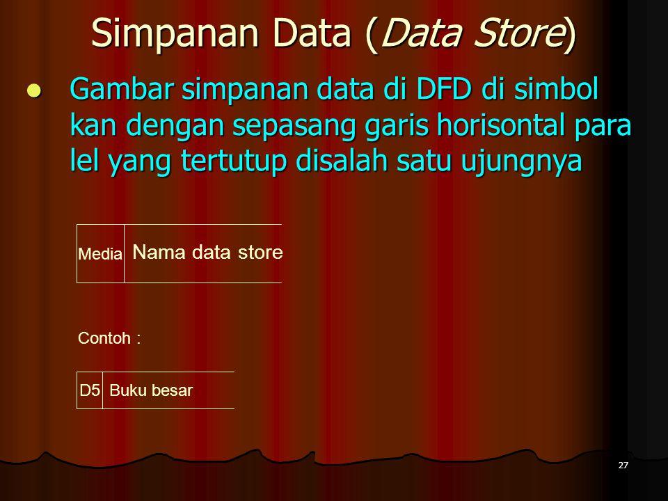 27 Simpanan Data (Data Store) Gambar simpanan data di DFD di simbol kan dengan sepasang garis horisontal para lel yang tertutup disalah satu ujungnya