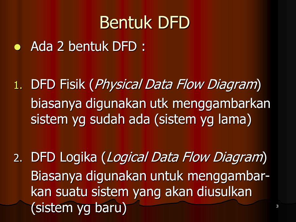 3 Bentuk DFD Ada 2 bentuk DFD : Ada 2 bentuk DFD : 1. DFD Fisik (Physical Data Flow Diagram) biasanya digunakan utk menggambarkan sistem yg sudah ada