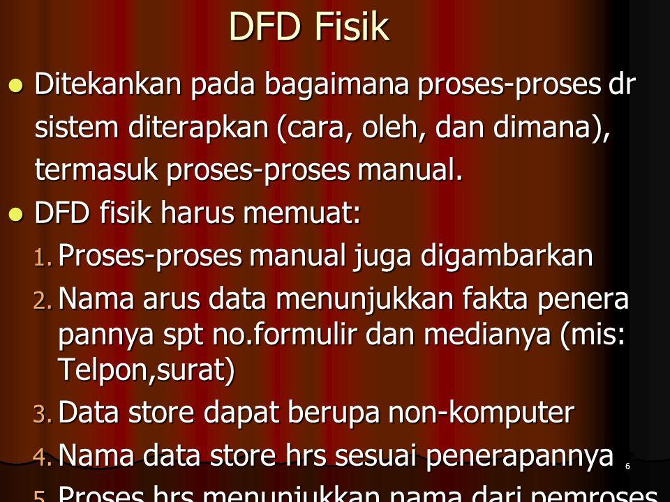 6 DFD Fisik Ditekankan pada bagaimana proses-proses dr Ditekankan pada bagaimana proses-proses dr sistem diterapkan (cara, oleh, dan dimana), sistem d