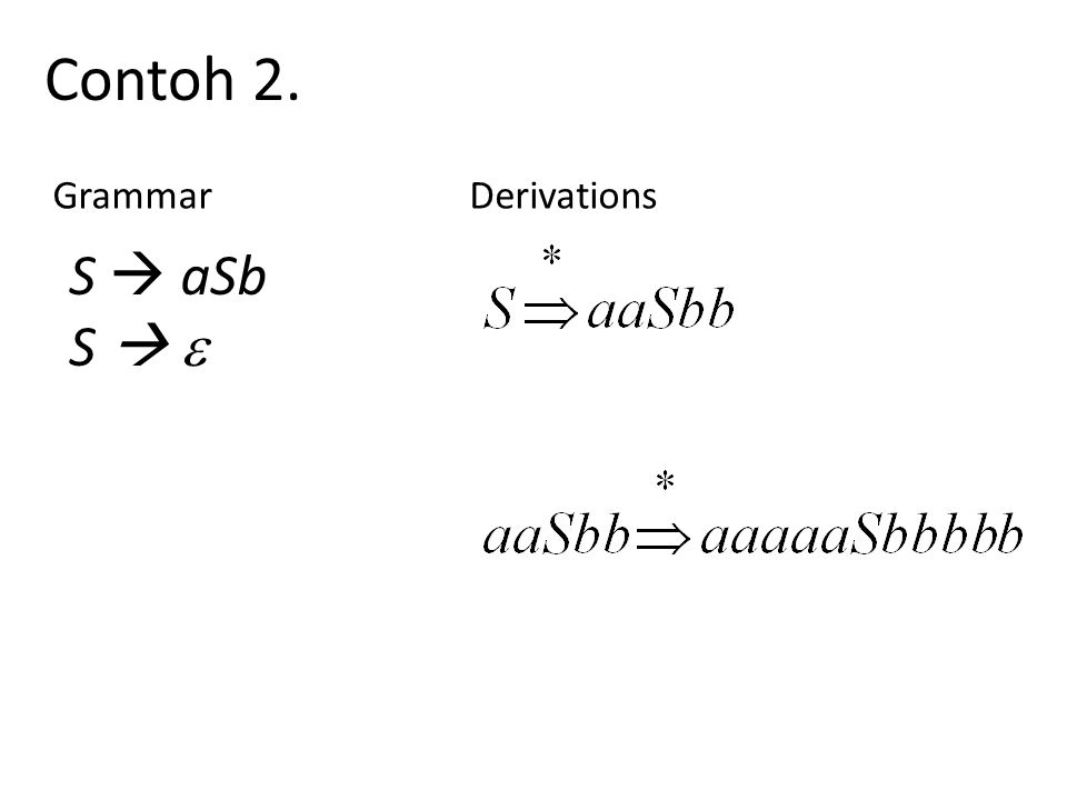 Contoh 2. GrammarDerivations S  aSb S  