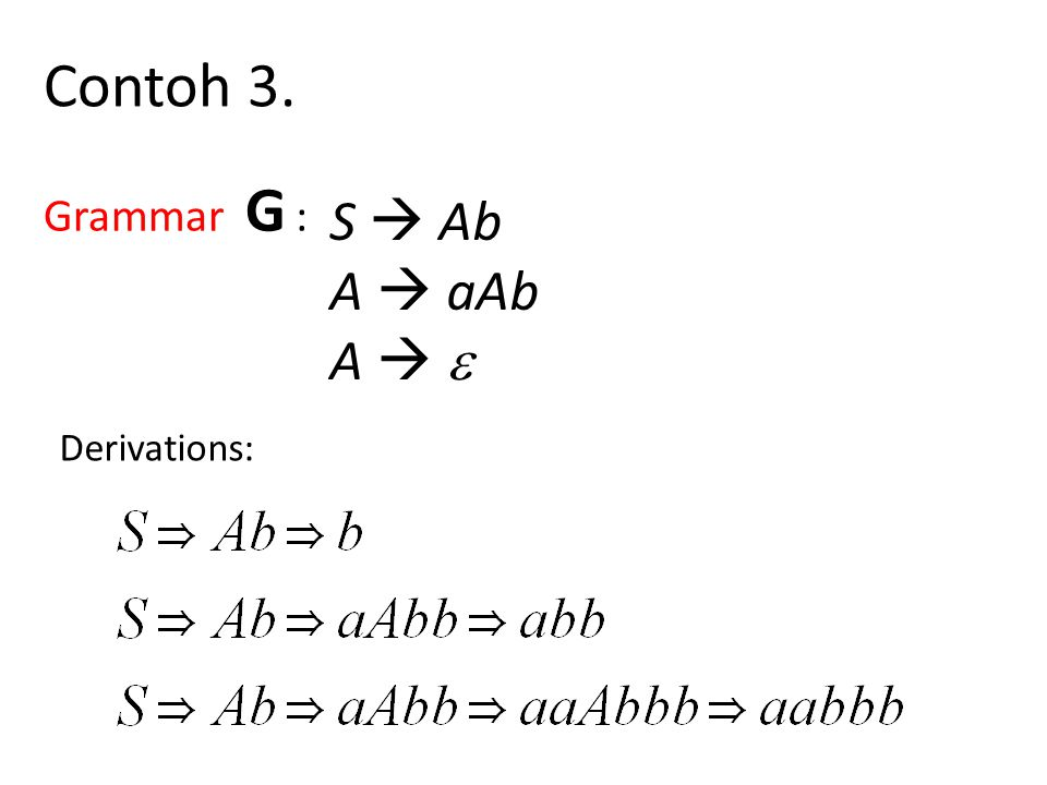 Derivations: Contoh 3. Grammar G : S  Ab A  aAb A  